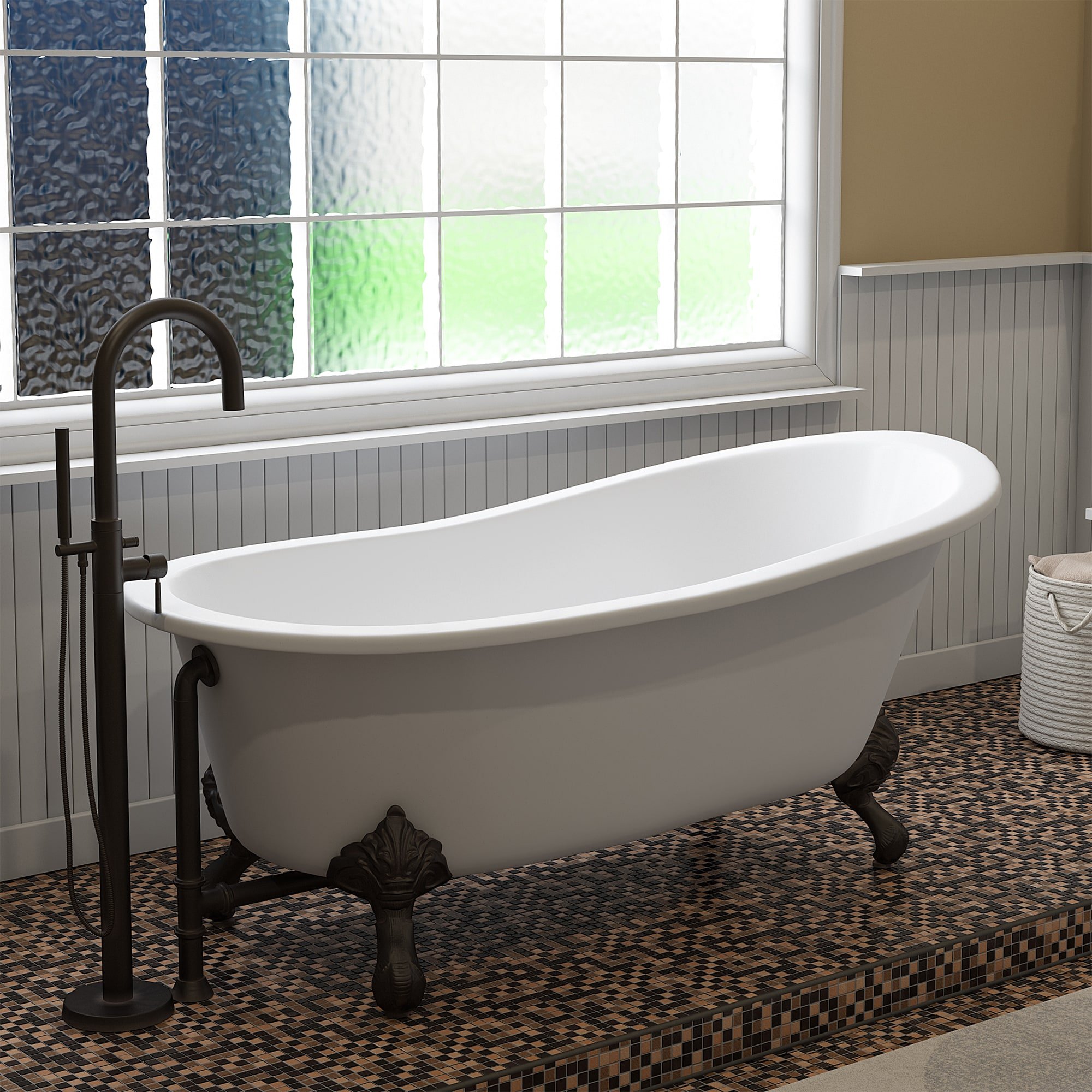 Cast Iron Slipper Clawfoot Tub Complete Freestanding Plumbing Package