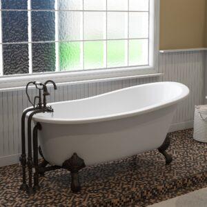 clawfoot cast iron slipper tub,