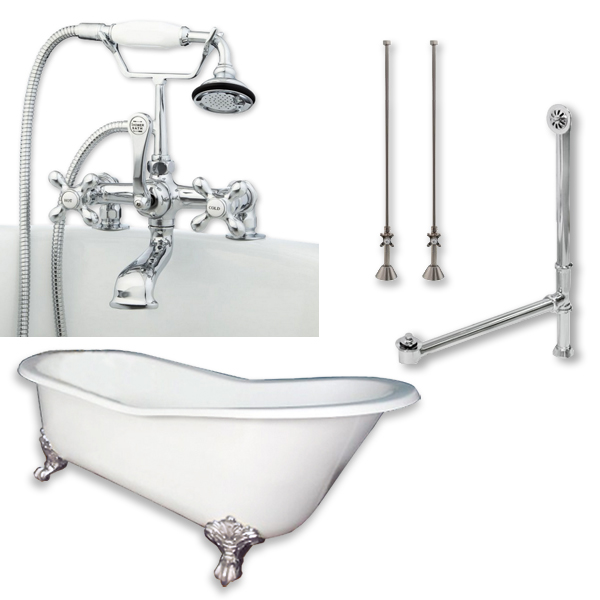 Cast Iron Slipper Clawfoot Tub 67 X 30 With 7 Deck Mount Faucet Drillings And Complete