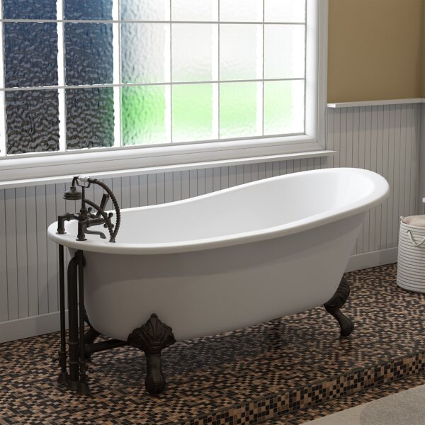 Cast Iron Slipper Clawfoot Tub 67 X 30 With 7 Deck Mount Faucet