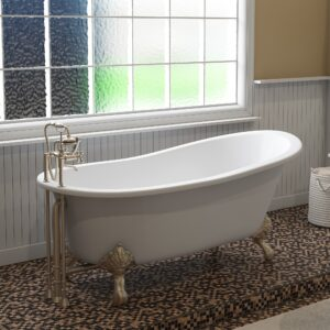 clawfoot slipper tub, cast iron tub,