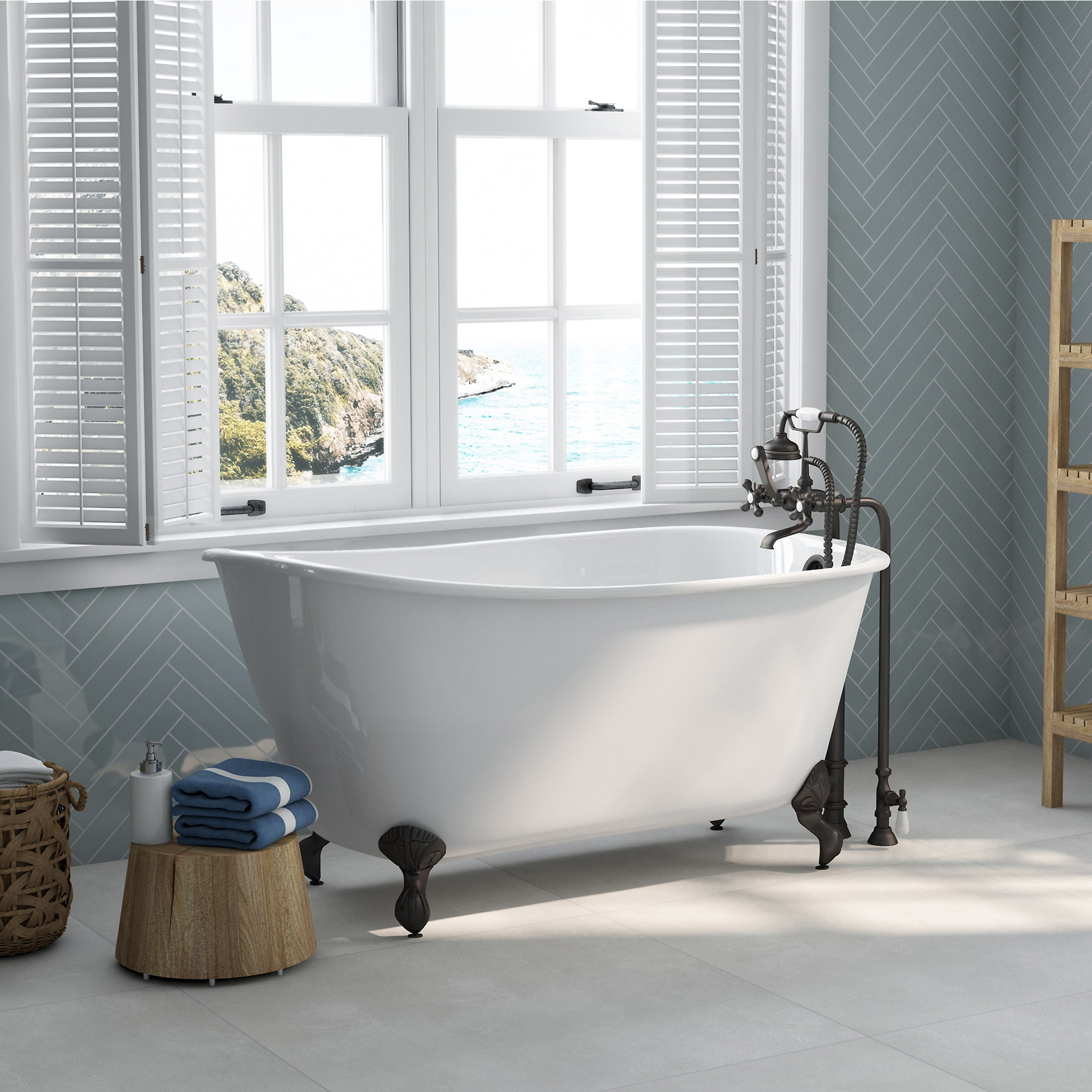 cast iron tub and faucet, swedish tub and faucet, clawfoot tub,