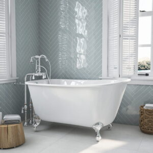 "54"" Swedish Clawfoot Tub with gooseneck faucet cp 01"