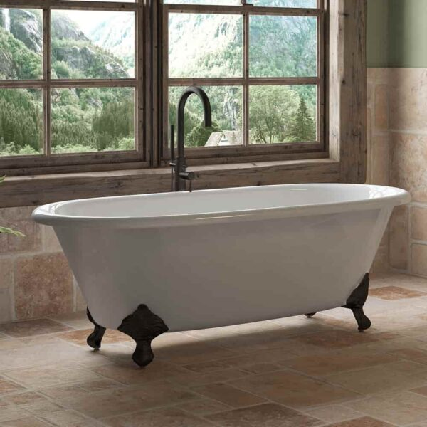 Cast Iron Double Ended Clawfoot Tub And Freestanding Tub Faucet Pkg