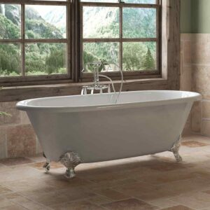 double end, clawfoot, cast iron tub,