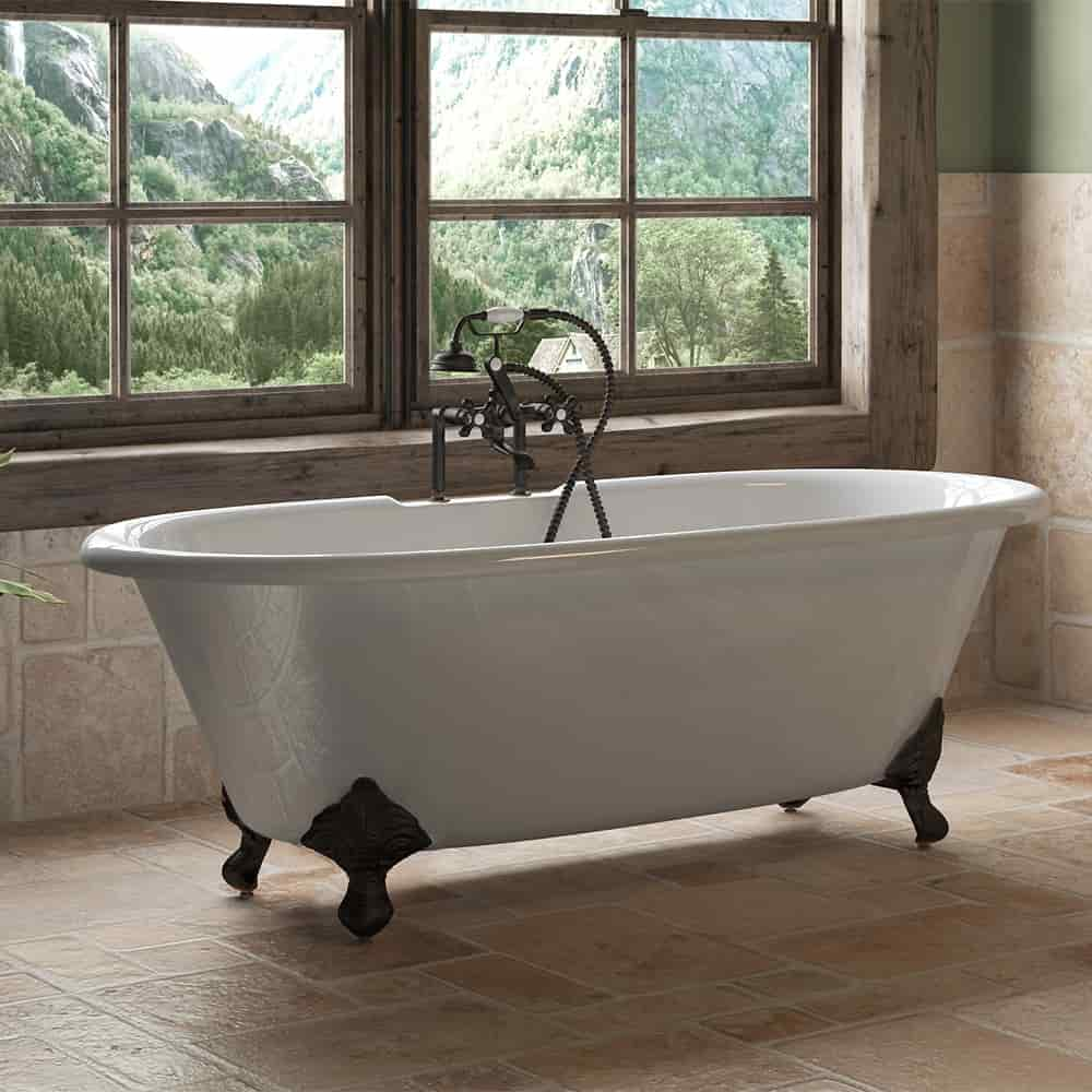 clawfoot, cast iron, double end tub,