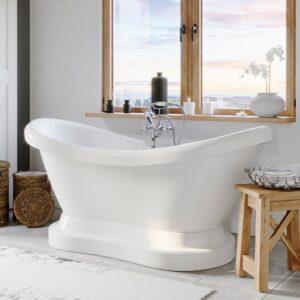 freestanding pedestal tub, double slipper tub,