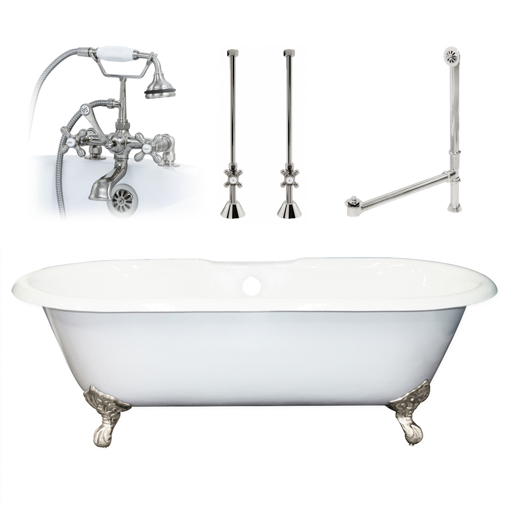 60 Cast Iron Double Ended Clawfoot Tub Package
