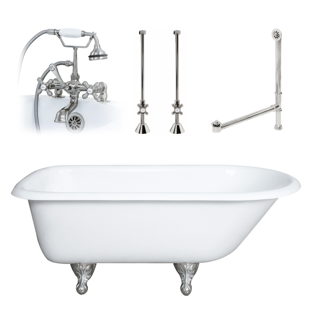 plumbing a clawfoot tub. Strom Plumbing Cloud 66 Inch Double Ended Clawfoot Tub  55 Quot Cast Iron Rolled Rim With Package