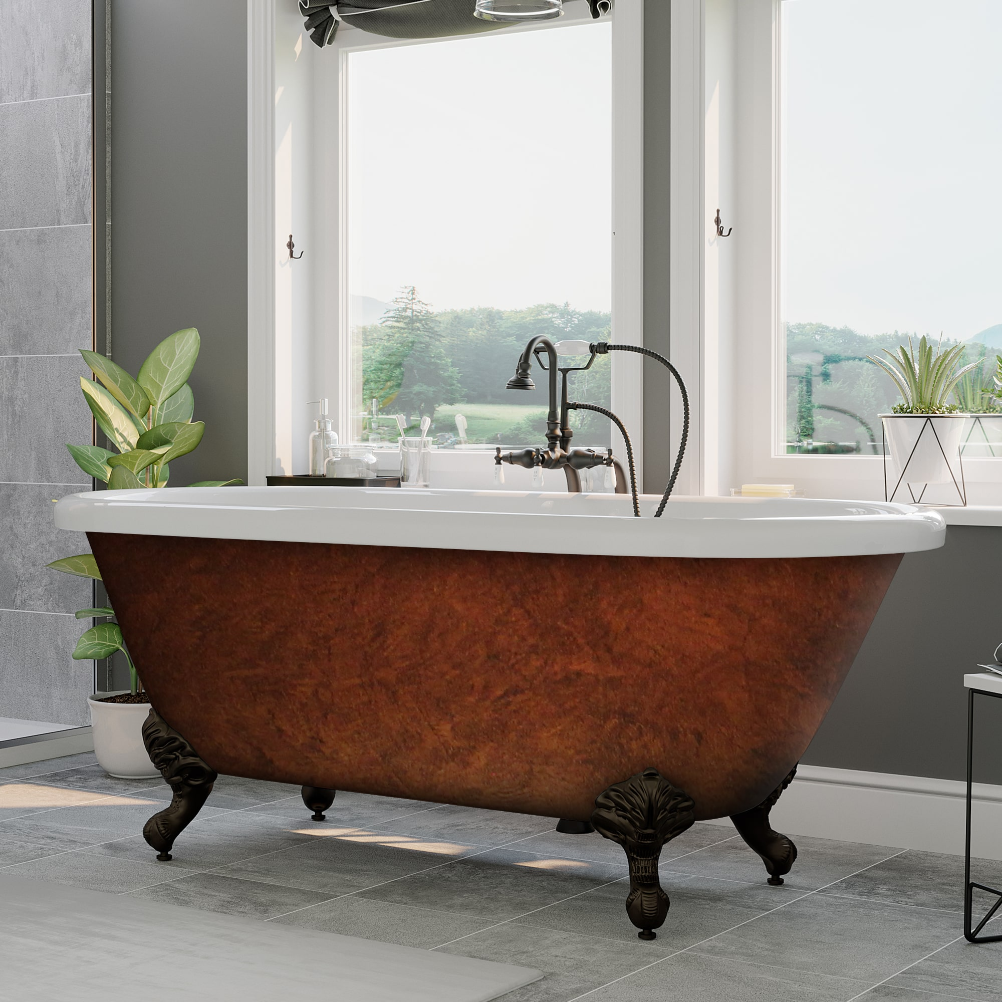 59 Acrylic Double Ended Clawfoot Tub Faux Copper Finish