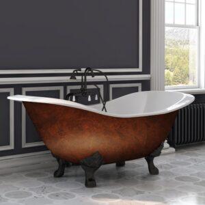 Cast Iron Double Slipper Copper Bronze Clawfoot Tub, cast iron, double slipper, copper bronze, clawfoot tub,