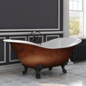 cast iron, double slipper, copper bronze, clawfoot tub,
