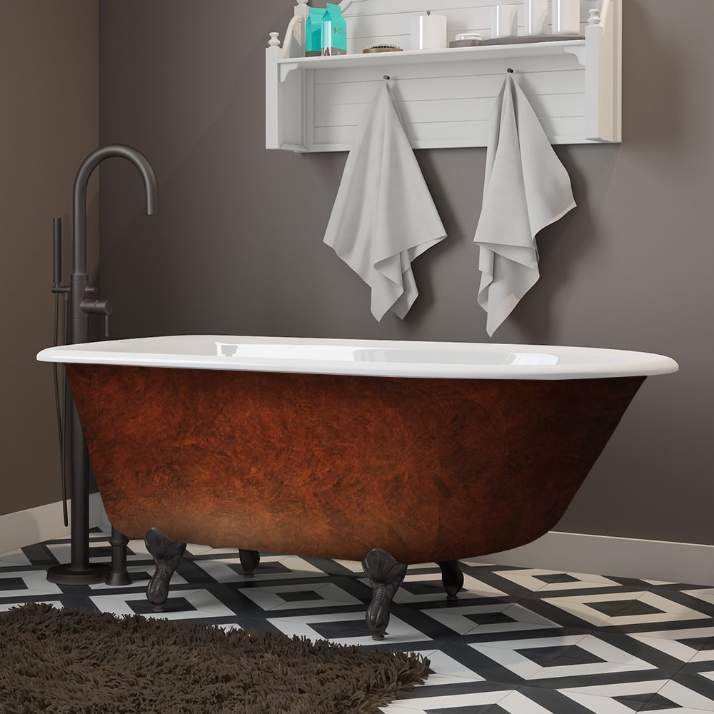 cast iron, copper bronze, rolled rim, clawfoot tub,