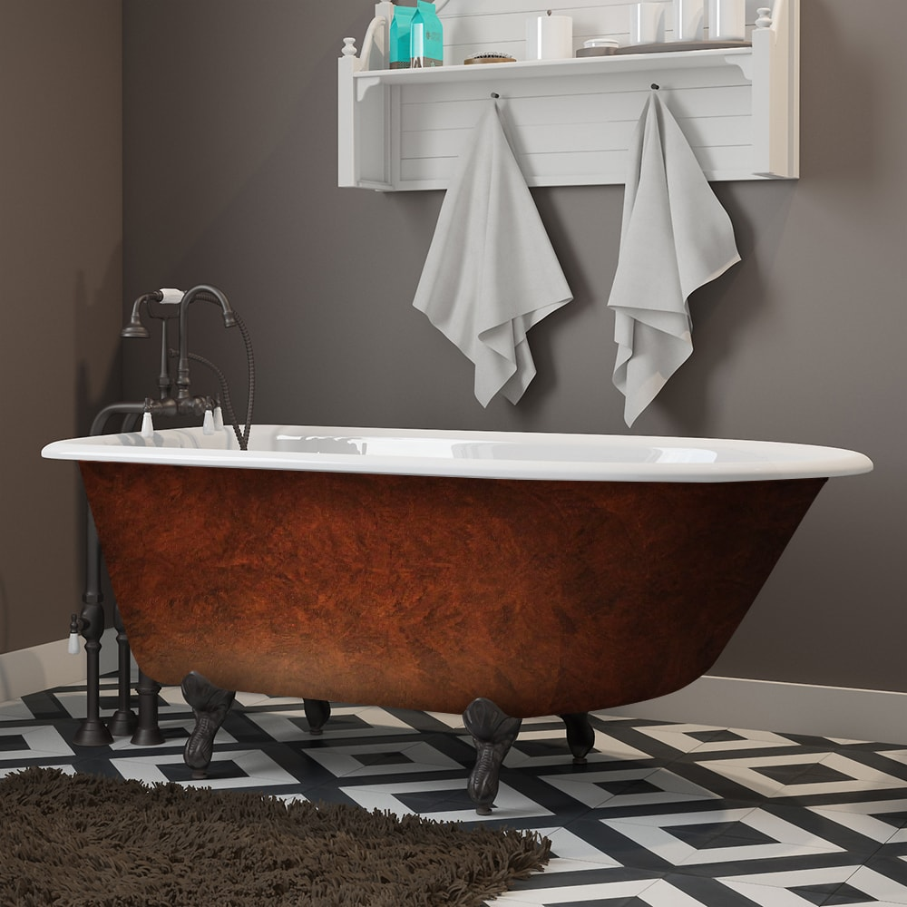 cast iron, clawfoot tub, copper bronze, rolled rim,