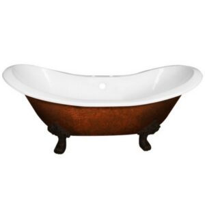 double ended slipper, cast iron, clawfoot, tub, copper bronze finish,