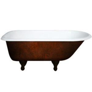 Rolled Rim, Cast Iron, Tub, Copper Bronze,