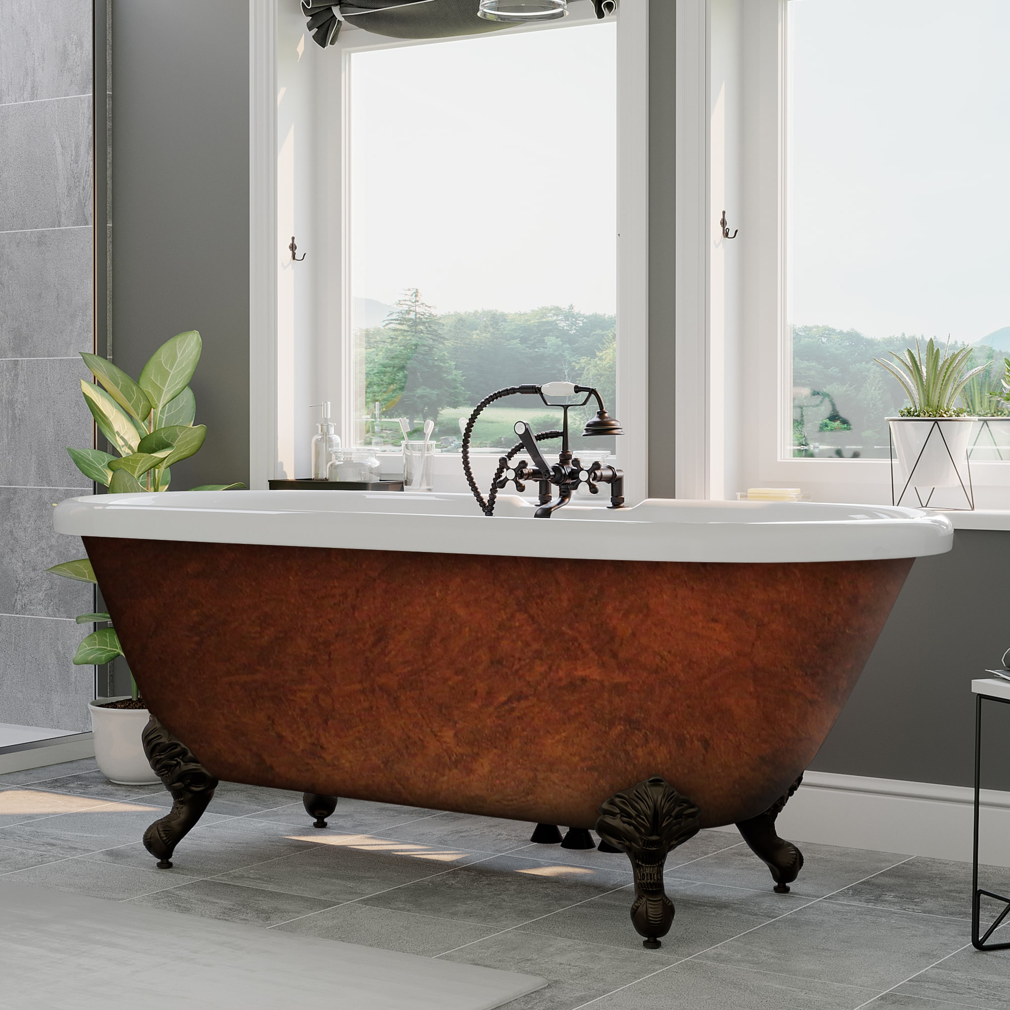 60″ Double Ended Tub, Acrylic, Clawfoot, Faux Copper Finish