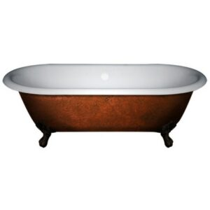 Double Ended Tub, Cast Iron, Clawfoot, Faux Copper Finish, 02