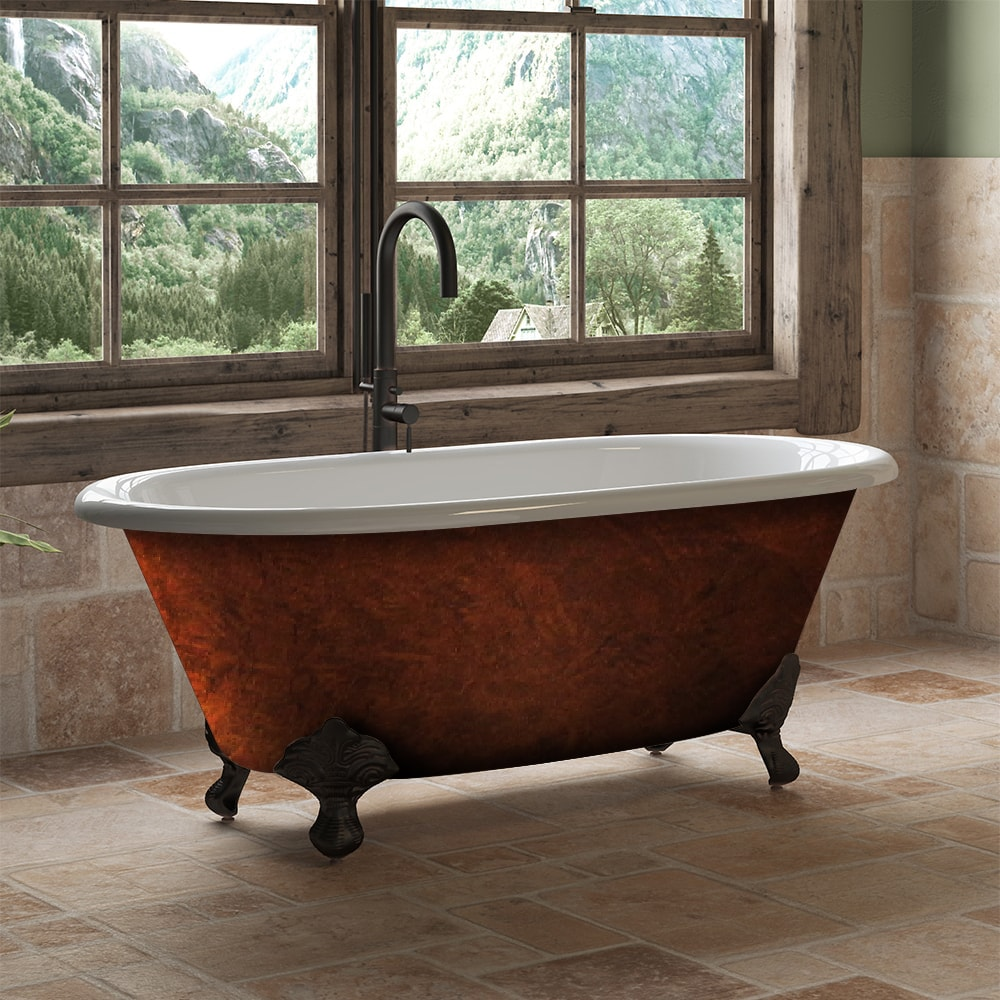 60″ Double Ended Tub, Cast Iron, No Holes, Faux Copper Finish