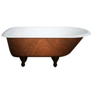 cast iron, clawfoot, faux copper finish bathtub, freestanding, rolled rim tub, 02