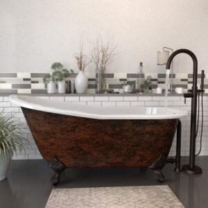 Clawfoot Cast Iron Tub, Copper Bronze Finish, ST67-NH-150-ORB-CB