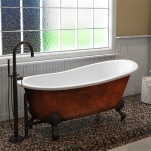 copper bronze slipper tub, cast iron tub, clawfoot tub,