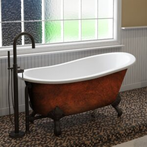 cast iron, clawfoot, slipper tub, copper bronze tub,