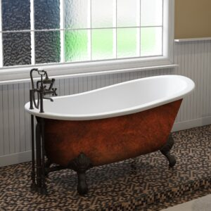 cast iron, copper bronze slipper tub, clawfoot tub,
