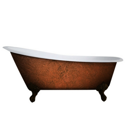 slipper tub, cast iron, no faucet holes, clawfoot tub, faux copper finish,