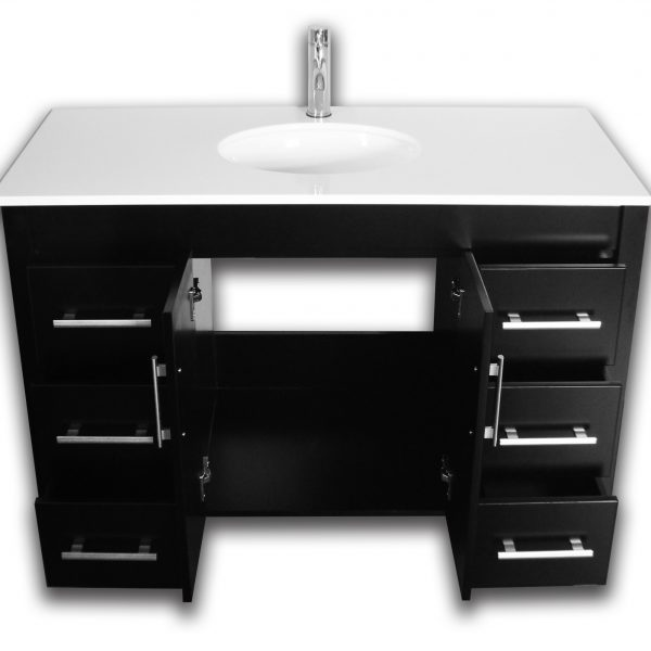 Complete Vanity Set Contains: Solid Oak Wood Vanity, Porcelain Vessel Sink, Faucet, Supply Lines, Drain & Mirror,