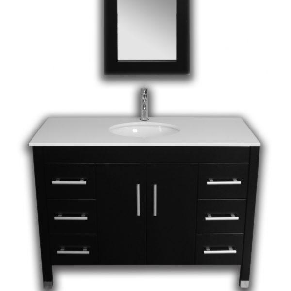 Complete Vanity Set Contains: Solid Oak Wood Vanity, Porcelain Vessel Sink, Faucet, Supply Lines, Drain & Mirror