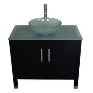 single sink vanity, espresso bathroom vanity set, tempered glass counter top, tempered glass vessel sink, wood vanity set,