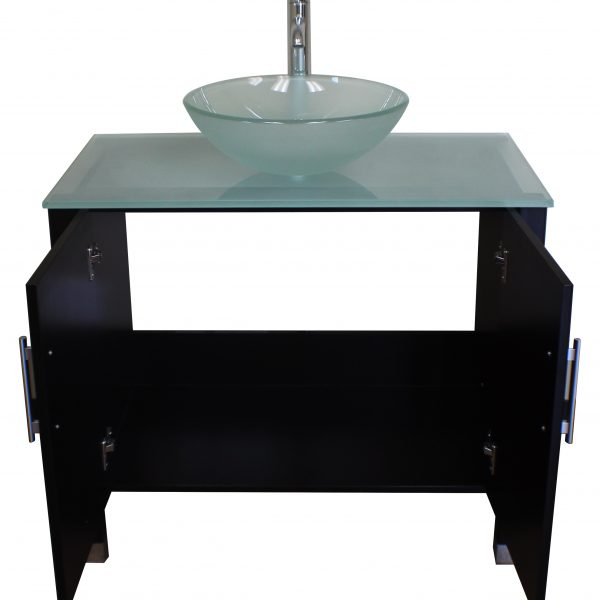 single sink vanity, espresso bathroom vanity set, tempered glass counter top, tempered glass vessel sink, wood vanity set,
