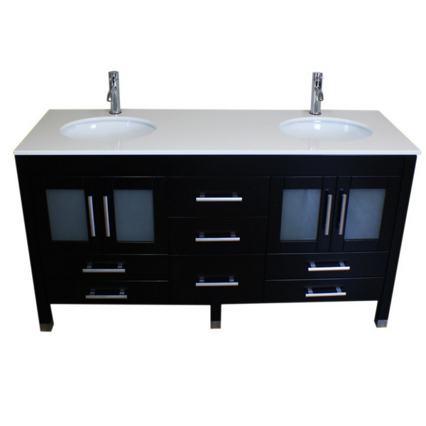 basin sink, double sink vanity, espresso bathroom vanity set, Porcelain Countertop, wood vanity set