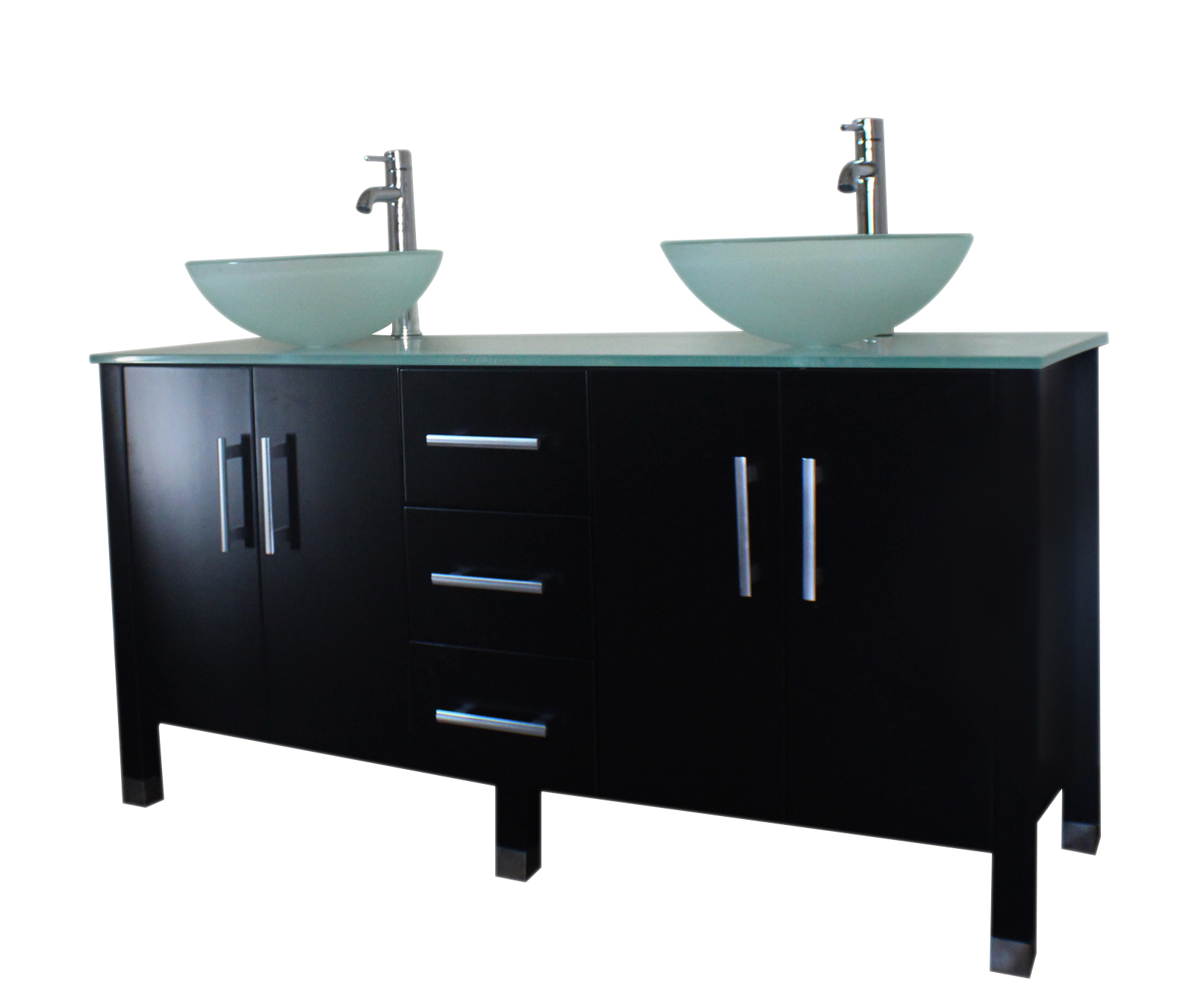 double sink vanity, espresso bathroom vanity set, tempered glass counter top, tempered glass vessel sink, wood vanity set,
