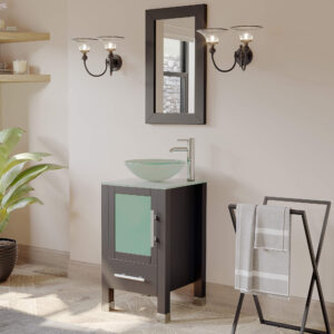 small bathroom vanity, espresso, glass vessel sink,