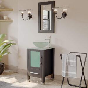 small bathroom vanity, espresso, glass vessel sink,