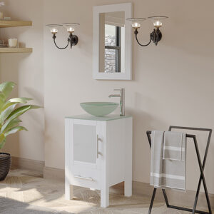 glass vessel sink, white finish bathroom vanity,