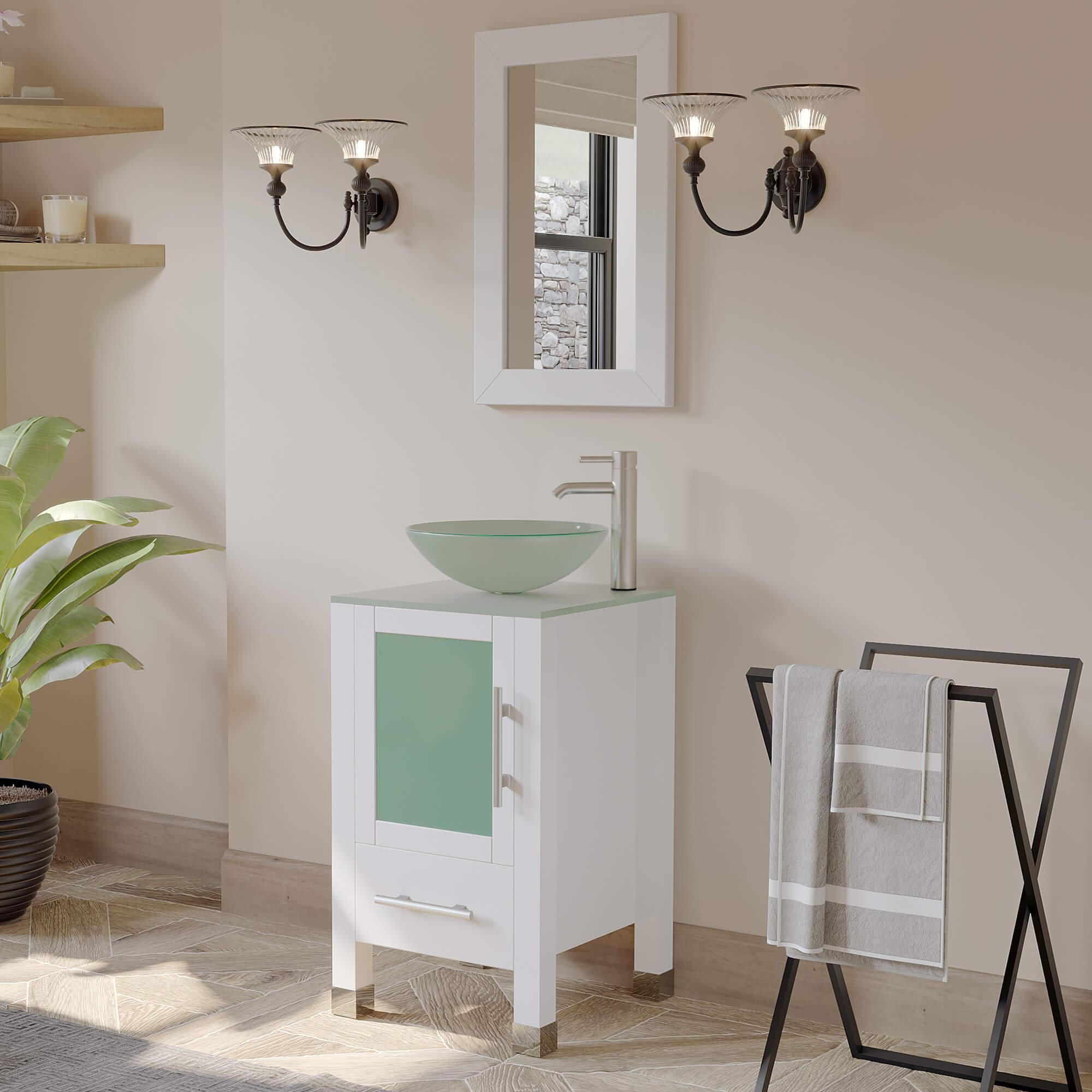 white vanity, single glass vessel sink, bathroom vanity,