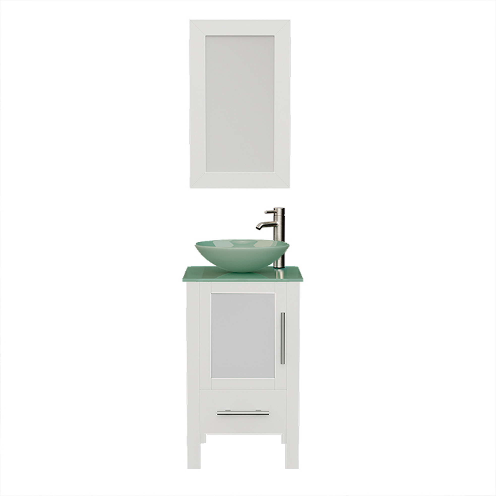 8137BW White Vanity Set w/Brushed Nickel Faucet