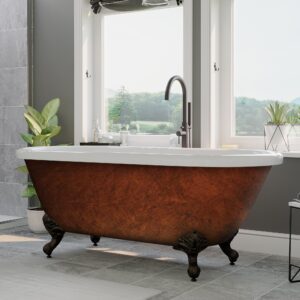 copper bronze tub, clawfoot tub, tub and faucet package,