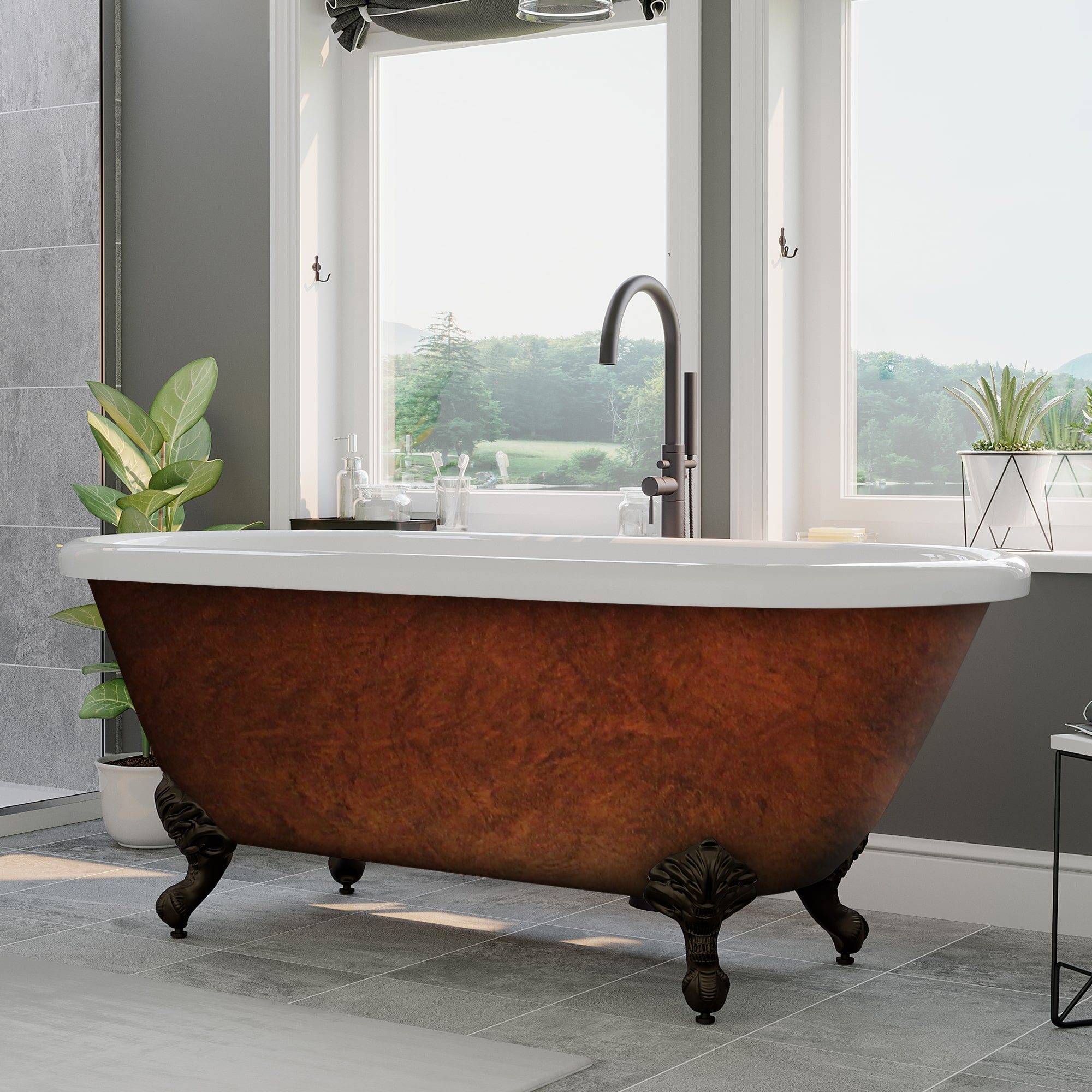 Acrylic Double Ended Clawfoot Tub No Faucet Holes Copper Bronze