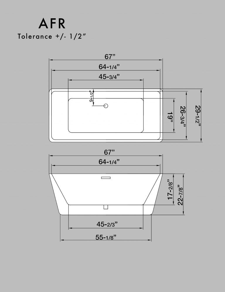 67 inch acrylic double ended rectangular freestanding tub