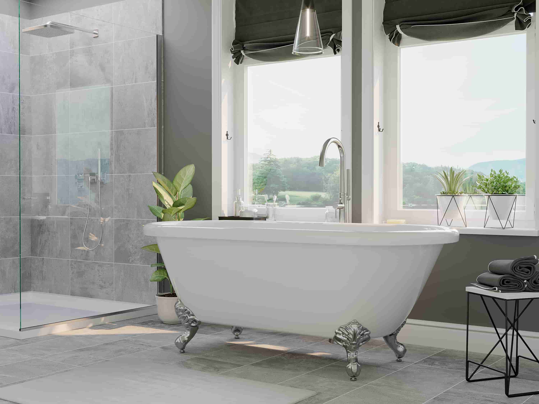 clawfoot tub, acrylic double ended tub,