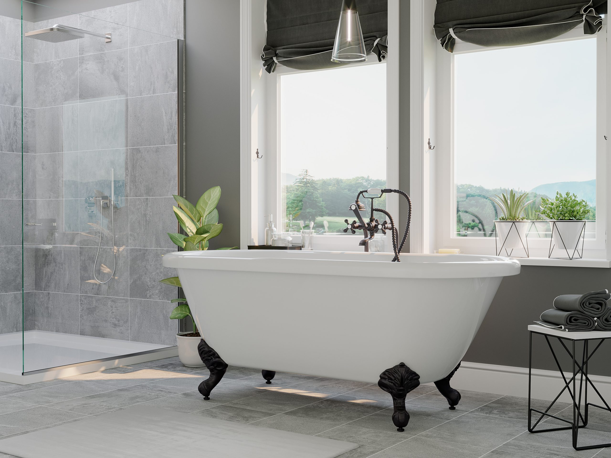 acrylic, double end tub, clawfoot tub, tub and faucet pkg,