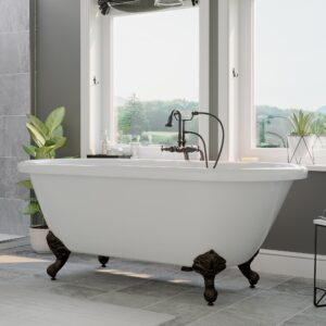 clawfoot tub, acrylic tub, double ended tub, tub and faucet pkg,