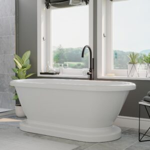 double ended, pedestal, freestanding tub,