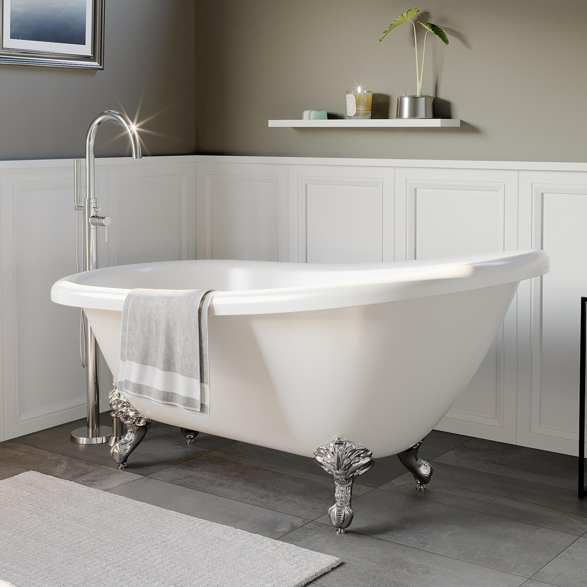 acrylic. c;lawfoot, slipper, tub,