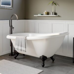 acrylic clawfoot tub, single slipper tub,