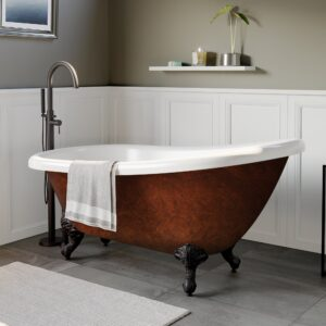 clawfoot tub, slipper tub, faux copper tub,